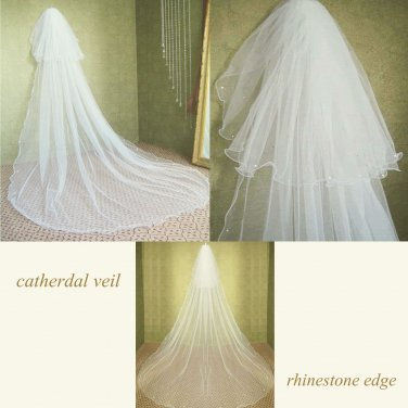 FREE SHIP - 3m � White/ Ivory Cathedral Veil Lace Wedding Bridal With Hair Comb Tiara 2T