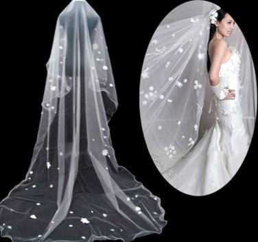3m � Off White Cathedral Veil Lace Wedding Bridal With Flowers 1T