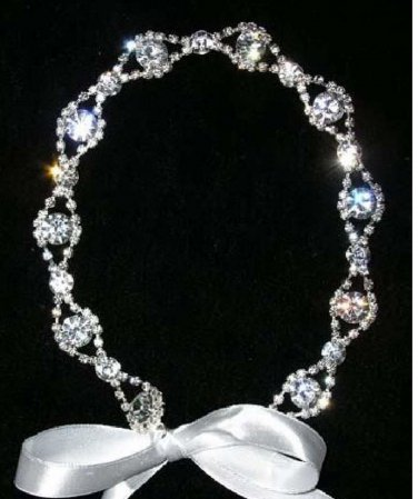 white Satin Ribbon Headband Beaded Glass Crystal Rhinestone Wedding Hairband