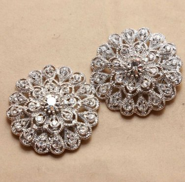 Vintage Style Round Girls Rhinestone Wedding Bridesmaids gift Bride Shoes Clips