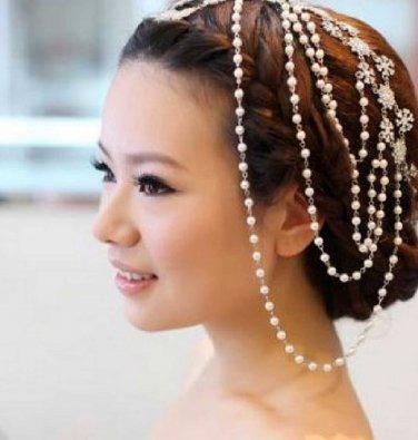 Crystal Chain Rhinestone Wedding Faux Pearl Shoulder/choker Necklace Hair Chain