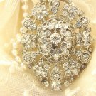 Oval Glass Crystal Rhinestone Wedding Bridal Bride Sash Brooch Pin