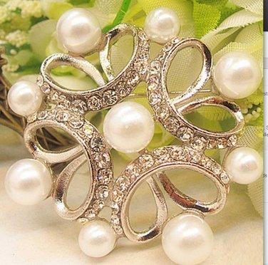 Rhombus Pearl Rhinestone Crystal Silver Bridal Wedding Brooch Pin
