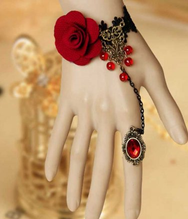 BLACK Embrodiery Lace Red Rose Gothic Bracelet Goth Victorian Lolita Slave Ring