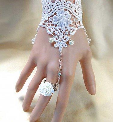 fingerless Bridal wedding off white lace Slave Ring Chain Bracelet/Gloves