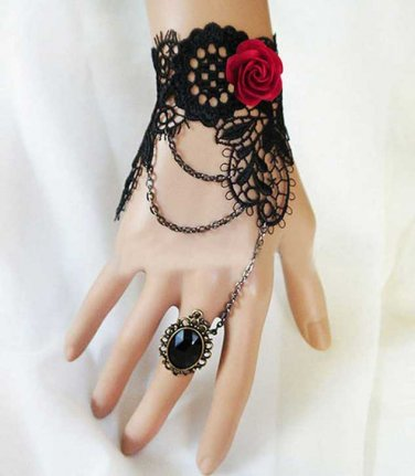 Black Lace Red Rose Rococo Goth Cocktail Party Bridal Bracelet