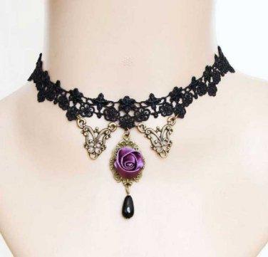 BLACK Lace Purple Rose Gothic Necklace Goth Victorian Lolita Steampunk Rococo