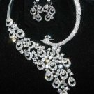 Wedding Bridal Rhinestone Crystal Peacock Brides Necklace Earrings Jewellery Set