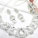 Vintage Wedding crystal Rhinestone Necklace Earrings Jewellery Set