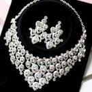 Wedding Bridal Rhinestone Crystal Peacock Clip Necklace Earrings Jewellery Set