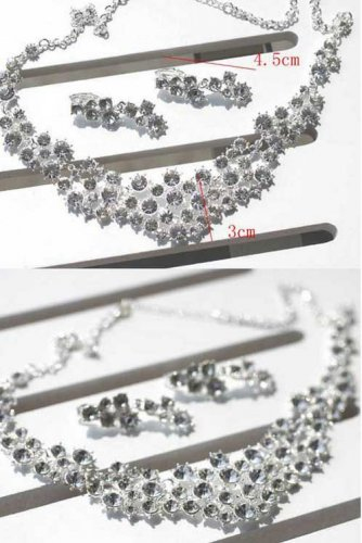 Engagement Anniversay Wedding Bridal Rhinestone Crystal Necklace Earrings Set