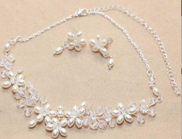 Wedding Bridal Rhinestone Crystal Handmade Pearl Necklace Earrings Jewellery Set