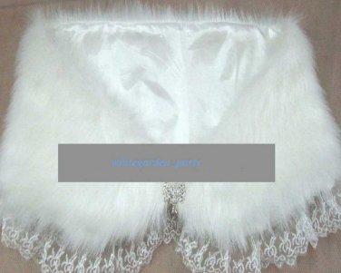 Faux Fur Off White Wedding Bridal Crystal Clasp Lace Cape Shrug Wrap Bolero