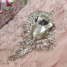Crystal Rhinestone Layer Flower Wedding Hair Craft Shell Beach Party Brooch Pin