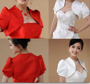 Elegant Bridal Wedding Wrap Off White or Red Short Sleeve Shawl Bolero Jacket