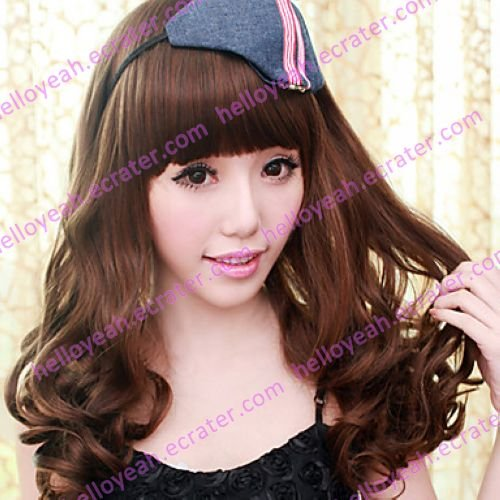Brown Gal Gradient Color 60cm School Lolita Long Curly Lace Wig