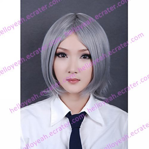 Cosplay Wig Inspired by Synthetic Fiber Silver Medium