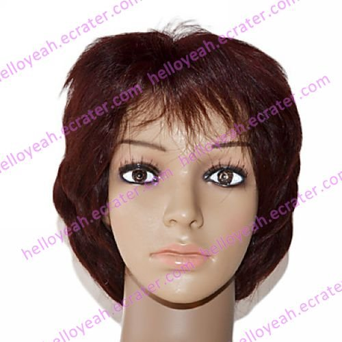 Full Lace 100% Indian Remy Hair Auburn Curly Wig