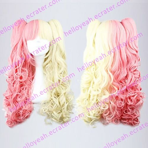 Lolita Curly Wig Inspired by Pink and Golden Mixed Color Ponytail 70cm Sweet