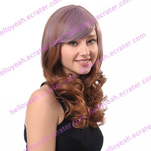 Lolita Curly Wig Inspired by Zipper Purple and Brown Mixed Color 60cm Punk