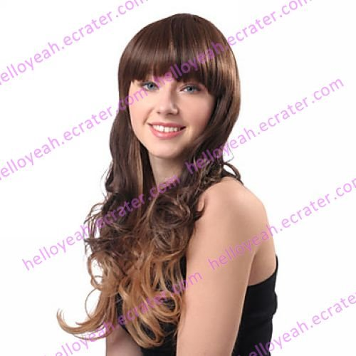 Lolita Wave Wig Inspired by Zipper Blunt-cut Golden and Brown Mixed Color 65cm Punk