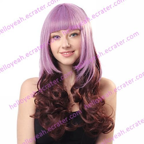 Lolita Wave Wig Inspired by Zipper Blunt-cut Purple and Brown Mixed Color 65cm Punk