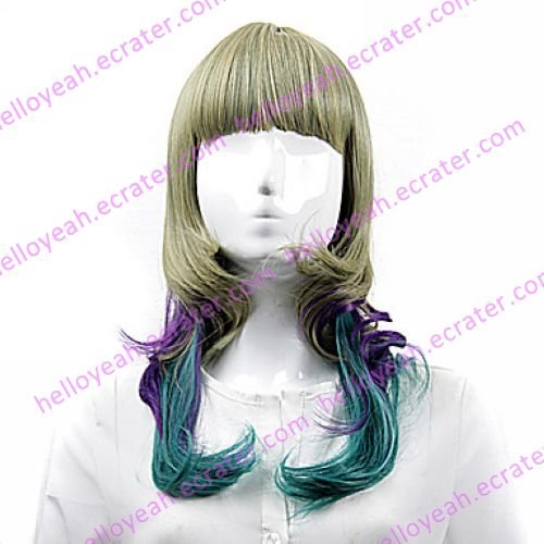Lolita Wig Inspired by Green Purple Flaxen Mixed Color Sweet