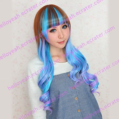 Lolita Wig Inspired by Zipper Sky Blue and Brown Gradient 80cm Cosplay