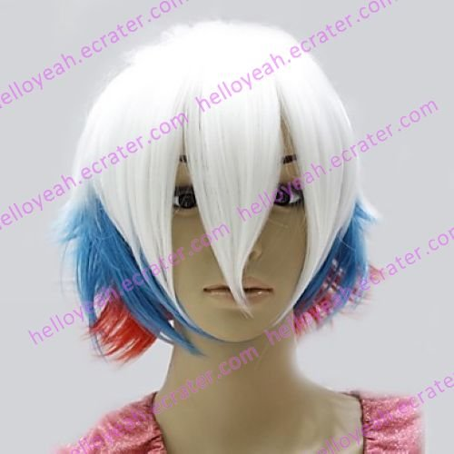 Lolita Wig Inspired by Zipper White and Blue and Red Mixed Color 45cm Punk