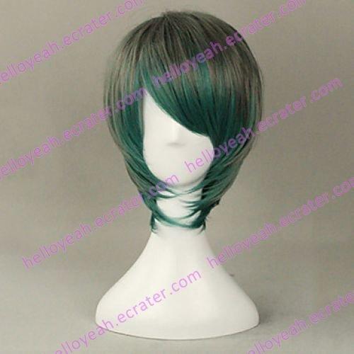 Peafowl Style Gray and Green Gradient 35cm Oji Lolita Wig