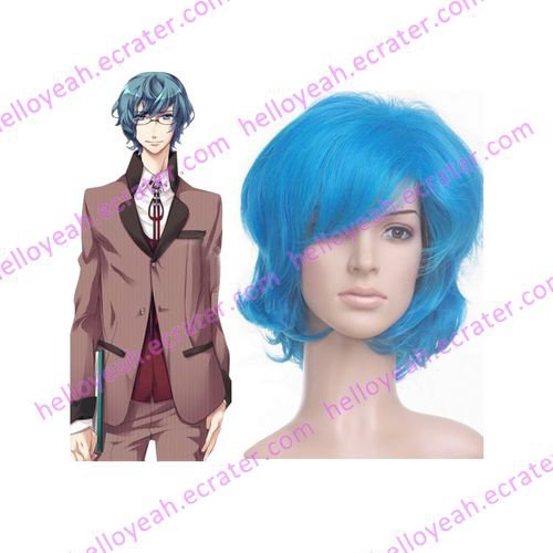 Light Blue Starry Sky Mizushima Iku 40cm Nylon Cosplay Wig