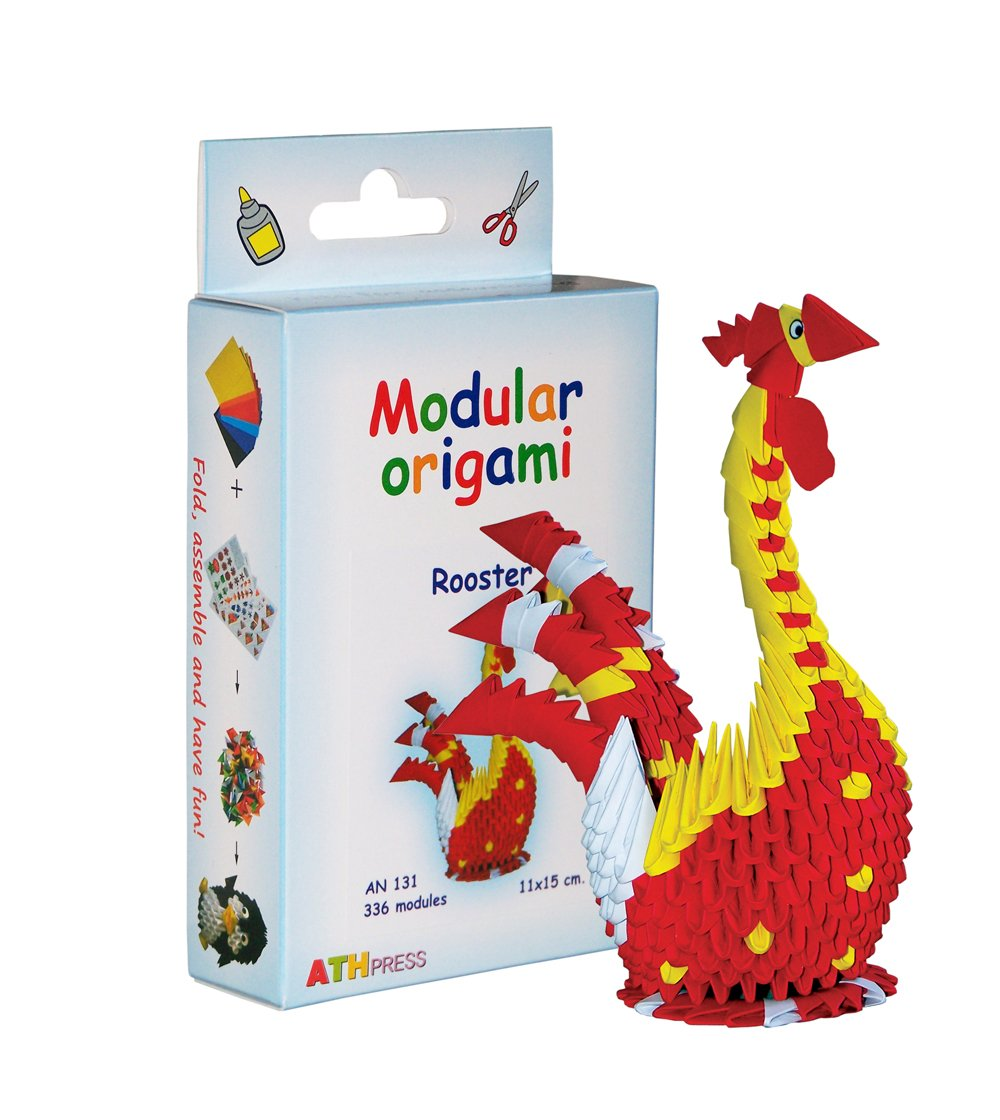 Amazing kit for assembling a modular origami rooster