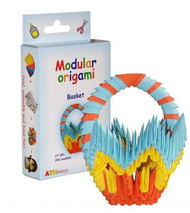 Amazing kit for assembling a modular origami basket