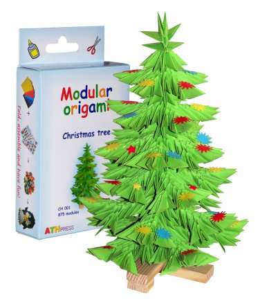Amazing kit for assembling a modular origami Christmas tree