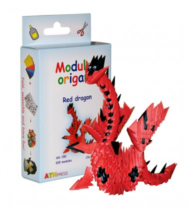 Amazing kit for assembling a modular origami red dragon