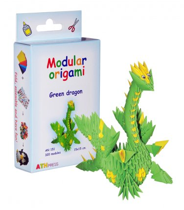Amazing kit for assembling a modular origami green dragon