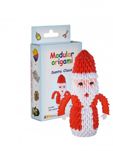 Amazing kit for assembling a modular origami Santa Claus