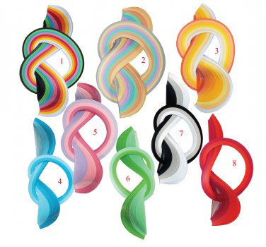 5 packs Quilling strips, different colours, 3 mm/30 cm, paper - 90 g/cm2