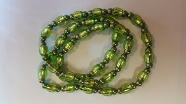 Necklace Green Beads. 17.5 inches Handmade