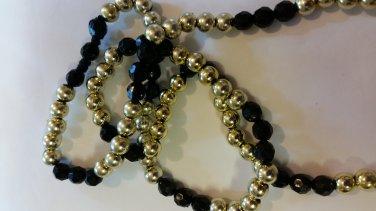 Black and Gold Acrylic Beaded Necklace handmade