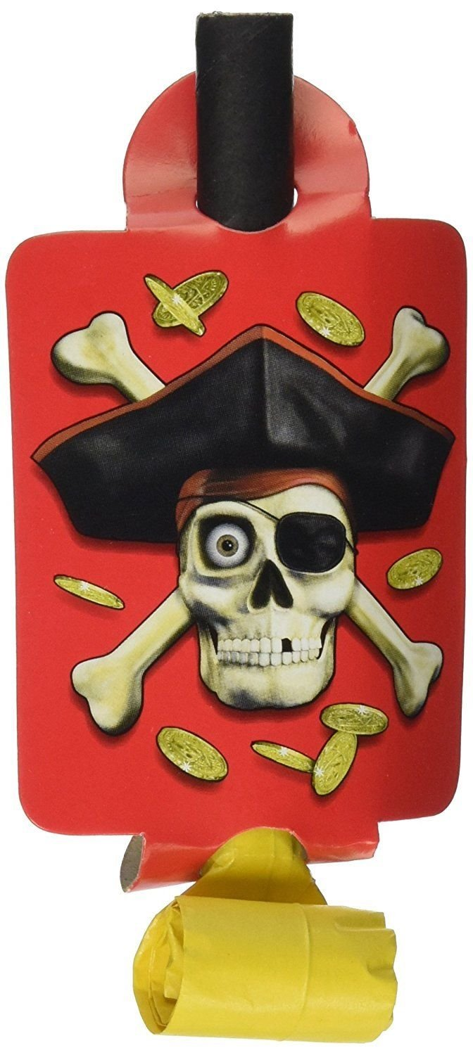PIRATE PARTY BLOW-OUTS noise makers decoration Party 8 Piece Birthday