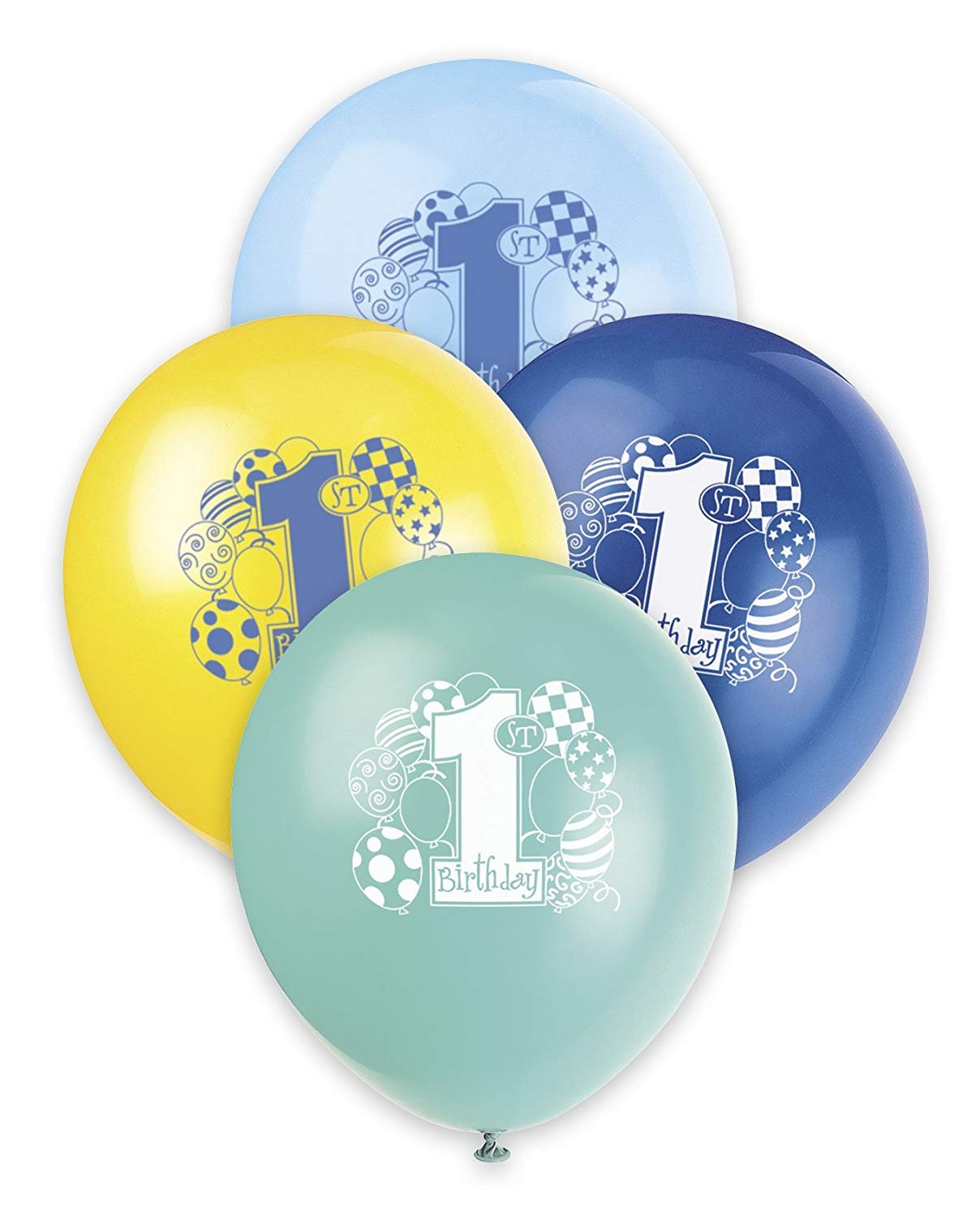 "12"" Latex Party Balloons 8 Count Baby Boy 1st First Birthday Supplies Free Ship"