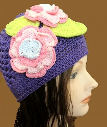 Summer Hat with Pink Flowers