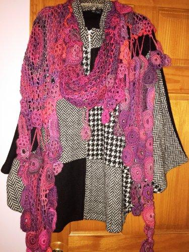 Crochet Winter Scarf with Motifs