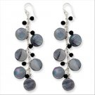 QGQE2190     Sterling Silver Grey Mother of Pearl and Black Quartz Earrings