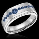 Blue Diamond Men's Engagement Ring Band Gold 1.75 Carat