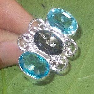 Blue Quartz Ring Smoky Quartz Ring Bezel Setting Ring Fashion Ring Gift Ring - 8