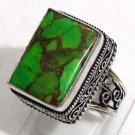 Elegance Green Copper Turquoise Gemstone 925 Sterling Silver Overlay Ring Sz 10