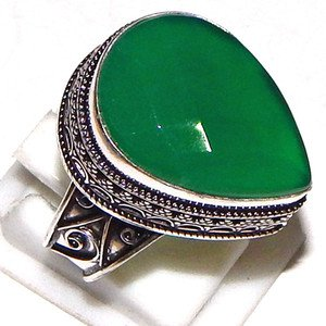 Luxury Natural Green Onyx Gemstone 925 Sterling Silver Overlay Ring Size 11