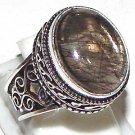 Wonderful Oval Black Rutile Gemstone 925 Sterling Silver Overlay Ring Size 9